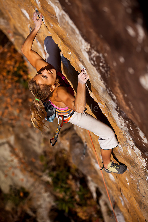 "Sasha DiGiulian climbing ""True Love"" 13d at ""The Gold Coast,"" Pendergrass Murray Recreational Preserve, Red River Gorge, Kentucky, USA."
