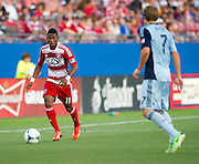 FRISCO, TX - JUNE 22:  Fabian Castillo #11 of FC Dallas brings the ball up field against Sporting Kansas City on June 22, 2013 at FC Dallas Stadium in Frisco, Texas.  (Photo by Cooper Neill/Getty Images) *** Local Caption *** Fabian Castillo