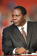 ESPN football analyst Tom Jackson talks football during the American Football Conference AFC All-Stars game against the National Football Conference NFC All-Stars in the 2010 NFL Pro Bowl, January 31, 2010 in Miami, Florida.  The AFC won the game 41-34. ©Paul Anthony Spinelli