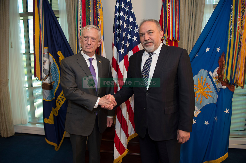 April 26, 2018 - Washington, District of Columbia, U.S. - Defense Secretary JAMES MATTIS meets with Israeli Defense Minister AVIGDOR LIEBERMAN at the Pentagon. Lieberman and Mattis discussed particularly heightened tensions between Iran, Israel, and the US.(Credit Image: ? US Navy/DOD via ZUMA Wire/ZUMAPRESS.com)
