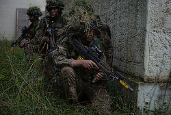 Image shows Officer Cadets from Royal Military Academy Sandhurst (RMAS) conducting the final attack on Exercise Dynamic Victory on Hohenfels Training Area in Germany.<br /> <br /> 22/07/2016<br /> Credit should read: Cpl Mark Larner RY<br /> <br /> Exercise Dynamic Victory is the last of three accumulative confirmation exercises of the 44 week commissioning course bofore officer cadets are given their commission and proceed to Phase 2 trade training. It tests the cadets suitability to become junior officers in the field army. The skills and drills the Officer Cadets have learned over the previous terms are brought together, forcing the cadets to work in an arduous overseas environment whilst thinking about more than just basic soldiering.