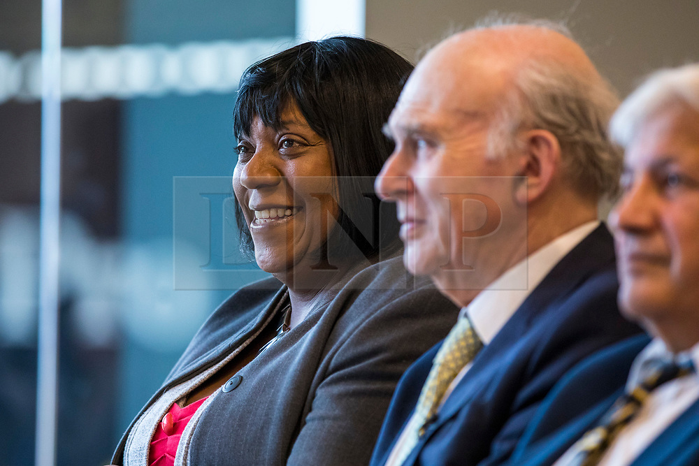 © Licensed to London News Pictures. 04/04/2018. Watford, UK. Pauline Pearce (L), known as the 'Hackney Heroine' after she was filmed confronting rioters during the 2011 London Riots, launches her bid to become a Liberal Democrat councillor in Hackney. Photo credit: Rob Pinney/LNP