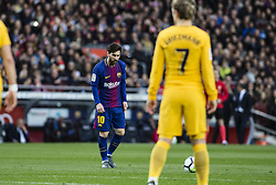 March 4, 2018 - Barcelona, Catalonia, Spain - 10 Leo Messi from Argentina of FC Barcelona scoring the first goal of the match in front of 07 Griezman from France of Atletico de Madrid during La Liga match between FC Barcelona v Atletico de Madrid at Camp Nou Stadium in Barcelona on 04 of March, 2018. (Credit Image: © Xavier Bonilla/NurPhoto via ZUMA Press)