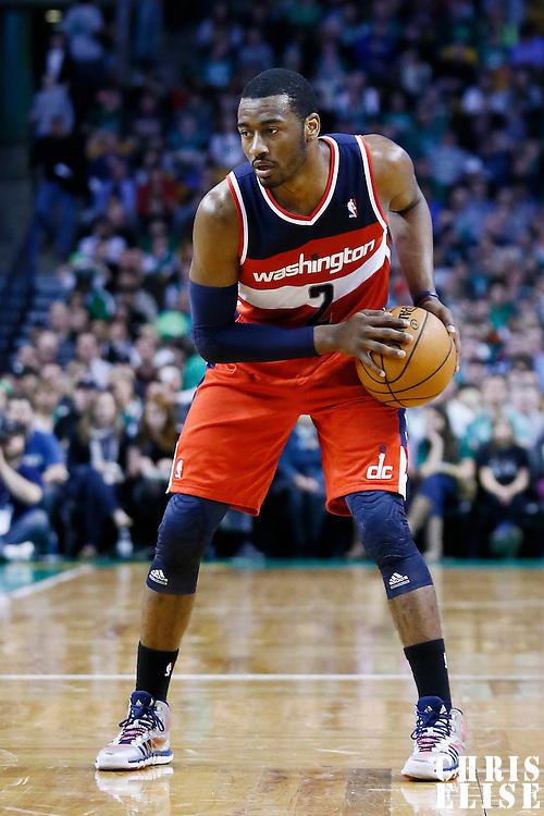 07 April 2013: Washington Wizards point guard John Wall (2) looks to pass the ball during the Boston Celtics 107-96 victory over the Washington Wizards at the TD Garden, Boston, Massachusetts, USA.