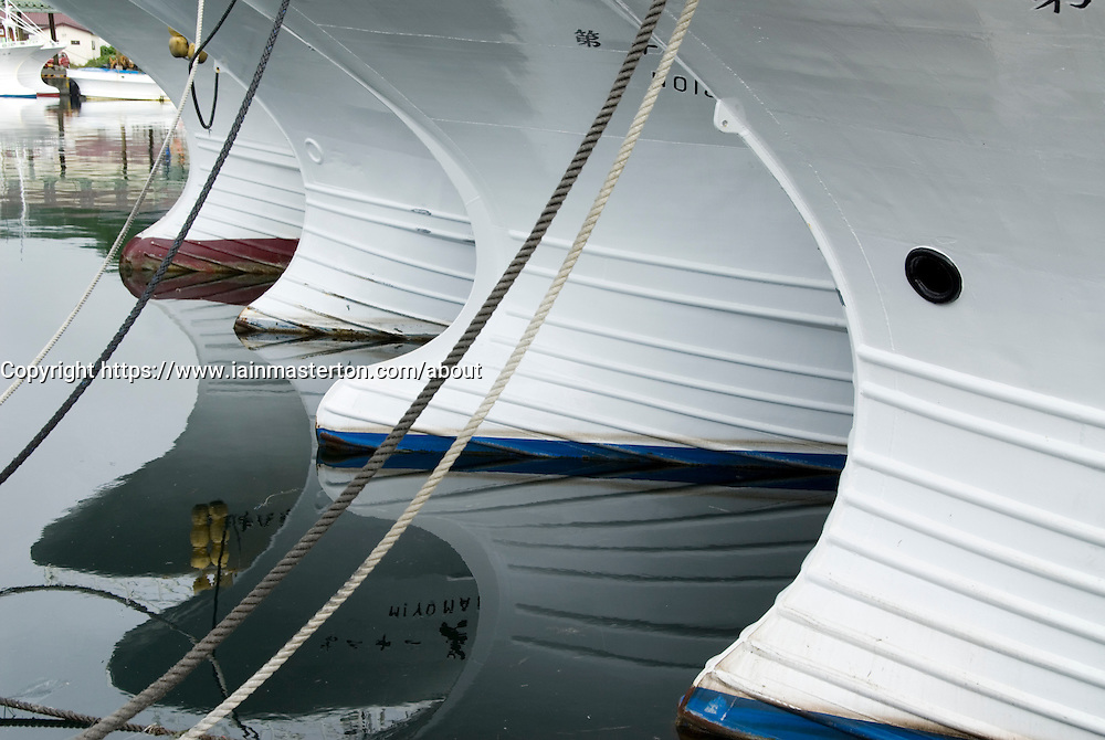 Detail of Japanese fishing boats at Rausu harbour on Hokkaido in Japan