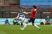 Forest Green Rovers Fabien Robert(26) passes the ball forward during the Vanarama National League match between York City and Forest Green Rovers at Bootham Crescent, York, England on 29 April 2017. Photo by Shane Healey.