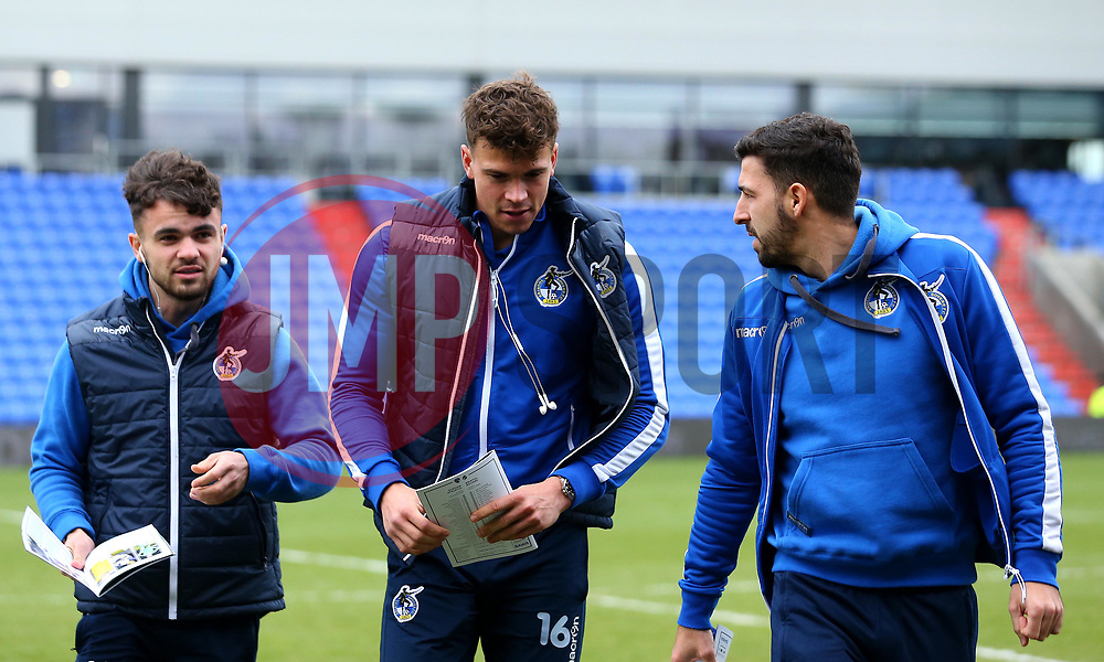 Dominic Telford, Tom Broadbent and Liam Sercombe of Bristol Rovers arrive at The Sportsdirect.com Park for the fixture against Oldham Athletic - Mandatory by-line: Robbie Stephenson/JMP - 30/12/2017 - FOOTBALL - Sportsdirect.com Park - Oldham, England - Oldham Athletic v Bristol Rovers - Sky Bet League One