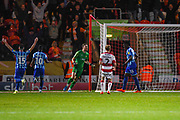 Blackpool forward Armand Gnanduillet (21) scores a goal and celebrates to make the score 0-1 during the EFL Sky Bet League 1 match between Doncaster Rovers and Blackpool at the Keepmoat Stadium, Doncaster, England on 17 September 2019.