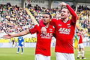 DEN HAAG - 21-04-2016, ADO Den Haag - AZ, Kyocera Stadion, 1-2, AZ speler Dabney dos Santos Souza heeft de 0-1 gescoord, AZ speler Vincent Janssen, juicht, juichen.