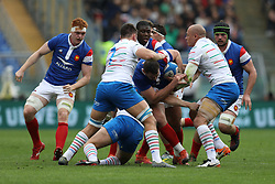 March 16, 2019 - Rome, RM, Italy - France and Italy players catching the ball during the Six Nations International Rugby Union match between Italy and France at Stadio Olimpico on March 16, 2019 in Rome, Italy. (Credit Image: © Danilo Di Giovanni/NurPhoto via ZUMA Press)