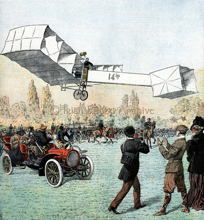 Alberto Santos-Dumont (1873-1932) Brazilian aviation pioneer: aeroplanes and dirigibles. Santos-Dumont flying his plane in the Bois du Boulogne, Paris. First powered plane flight in Europe. Antoinette engine. Man in car is throwing out plates so that distance of flight could be measured. From 'Le Petit Journal', Paris, 25 November 1906.