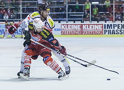 03.11.2013, Stadthalle, Klagenfurt, AUT, EBEL, EC KAC vs Dornbirner Bulldogs, 33. Runde, im Bild David Schuller (Kac, #45), Alex Plante (Dornbirner Bulldogs, #48) // during the Erste Bank Icehockey League 33rd Round match betweeen EC KAC and Dornbirner Bulldogs at the City Hall, Klagenfurt, Austria on 2013/11/03. EXPA Pictures © 2013, PhotoCredit: EXPA/ Gert Steinthaler// during the Erste Bank Icehockey League 33rd Round match betweeen EC KAC and Dornbirner Bulldogs at the City Hall, Klagenfurt, Austria on 2013/11/03. EXPA Pictures © 2013, PhotoCredit: EXPA/ Gert Steinthaler