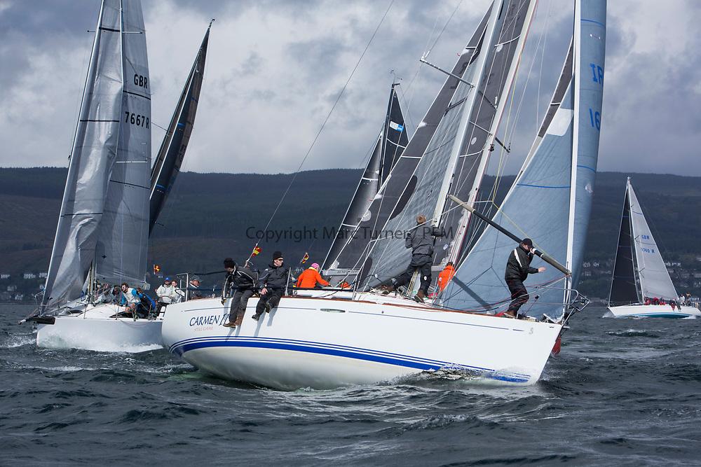 Pelle P Kip Regatta 2017 run by Royal Western Yacht Club at Kip Marina on the Clyde. <br /> <br /> IRL1666, Carmen II, Jeffrey/Scutt, CCC/HSC, First 36.7<br /> <br /> Image Credit Marc Turner