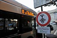 """Roma  20 Ottobre 2008.""""Ztl vietata a chi inquina"""", blitz ambientalista a Roma.L'Associazione ambientlista  Terra, protesta contro l'ostruzionismo del governo al taglio delle emissioni di gas serra. Nella notte a Roma sono comparsi 200 cartelli in prossimità dei 40 varchi delle Zone a traffico limitato. Sulle insegne affisse dall'associazione ambientalista, la scritta """"vietato l'ingresso al centro storico per i veicoli con emissioni di CO2 superiori a 120 g/km""""...Rome October 20, 2008.""""Ztl prohibited polluter, environmental blitz Rome.Environmental association """"Earth"""" protest against obstruction by the Government to cut emissions of greenhouse gases. The night in Rome 200 signs have appeared near the 40 gates of the limited traffic zones. On signs posted by the environmentalist, the words """"denied entry to the center for vehicles with CO2 emissions above 120 g / km.."""