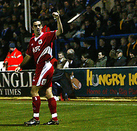 Photo: Chris Ratcliffe.<br />Colchester United v Bristol City. Coca Cola League 1. 17/01/2006.<br />Scott Murray of Bristol City celebrates the opening goal