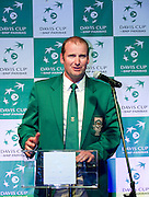 John Laffnie de Jager trainer coach and captain of South Africa national team while official banquet two days before the BNP Paribas Davis Cup 2013 between Poland and South Africa at MOSiR Hall in Zielona Gora on April 03, 2013...Poland, Zielona Gora, April 03, 2013..Picture also available in RAW (NEF) or TIFF format on special request...For editorial use only. Any commercial or promotional use requires permission...Photo by © Adam Nurkiewicz / Mediasport