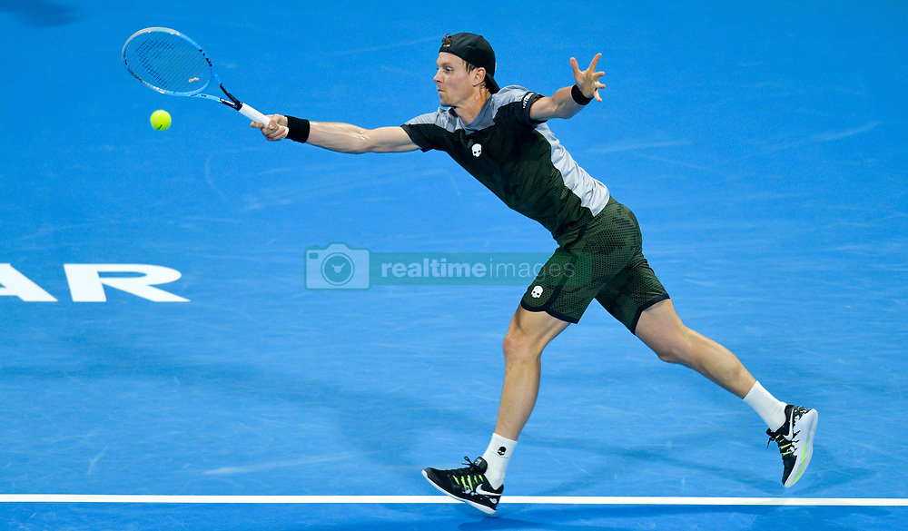 Tomas Berdych of Czech Republic returns the ball to Pierre-Hugues HERBERT of Franceduring their Quarter - Final of ATP Qatar Open Tennis match at the Khalifa International Tennis Complex in Doha, capital of Qatar, on January 03, 2019. Tomas Berdych won 2-0  (Credit Image: © Nikku/Xinhua via ZUMA Wire)