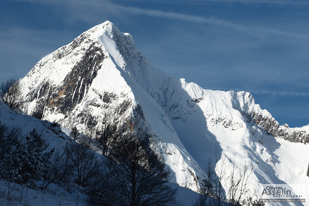 Mont Valier (2838m) seen from below col de Pause, near Couflens, Ariege, Midi-Pyrenees, France.