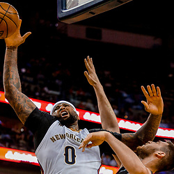 Mar 31, 2017; New Orleans, LA, USA; New Orleans Pelicans forward DeMarcus Cousins (0) shoots over Sacramento Kings center Georgios Papagiannis (13) during the second half of a game at the Smoothie King Center. The Pelicans defeated the Kings 117-89. Mandatory Credit: Derick E. Hingle-USA TODAY Sports