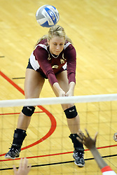 05 November 2010: Bailey Yeager scoops up a serve during an NCAA volleyball match between the Southern Illinois Salukis and the Illinois State Redbirds at Redbird Arena in Normal Illinois.