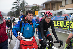 Marie Vilmann (DEN) of Cervélo-Bigla Cycling Team finishes the Trofeo Alfredo Binda - a 131,1 km road race, between Taino and Cittiglio on March 18, 2018, in Varese, Italy. (Photo by Balint Hamvas/Velofocus.com)