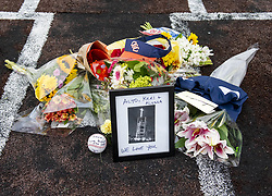 January 26, 2020, Costa Mesa, California, USA: A makeshift memorial was created on home plate Orange Coast College baseball field in Costa Mesa on Sunday, January 26, 2020 for Orange Coast College baseball Coach Altobelli, his wife Keri and daughter Alyssa who were killed in the helicopter crash that also killed former Lakers star Kobe Bryant. (Credit Image: © Leonard Ortiz/Orange County Register via ZUMA Wire)