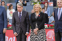May 14, 2018 - Madrid, Spain - Manuela Carmena and Manolo Santana  during day 9 of the Mutua Madrid Open tennis tournament at the Caja Magica in Madrid, Spain. on May 12, 2018 in Madrid, Spain  (Credit Image: © Oscar Gonzalez/NurPhoto via ZUMA Press)