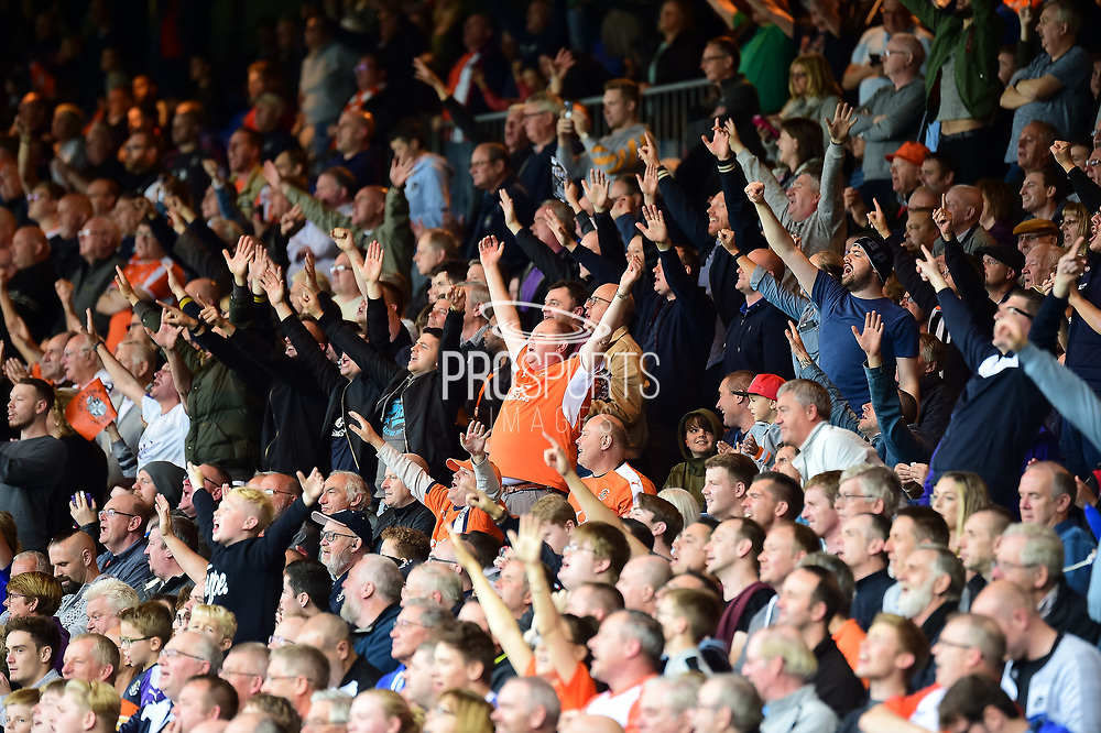 The Luton fans in full voice during the EFL Sky Bet League 2 match between Luton Town and Stevenage at Kenilworth Road, Luton, England on 14 October 2017. Photo by Dennis Goodwin.