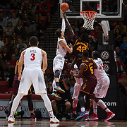 10 December 2016: The San Diego State Aztecs men's basketball team host's Saturday afternoon at Viejas Arena. San Diego State forward Max Hotel (10) battles Arizona State center Jethro Tshisumpa (42) for a rebound in the second half.  The Aztecs fell to the Sun Devils 74-63. www.sdsuaztecphotos.com