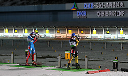 04.01.2012, DKB-Ski-ARENA, Oberhof, GER, E.ON IBU Weltcup Biathlon 2012, Staffel Frauen, im Bild Olga Vilukhina (RUS) und Magdalena Neuner (GER) am Schiessstand // during relay Ladies of E.ON IBU World Cup Biathlon, Thüringen, Germany on 2012/01/04. EXPA Pictures © 2012, PhotoCredit: EXPA/ nph/ Hessland..***** ATTENTION - OUT OF GER, CRO *****