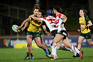 SYDNEY, AUSTRALIA - JULY 19: Trileen Pomare (10) of the Wallaroos passes the ball during the second rugby test match between the Australian Wallaroos and Japan on July 19, 2019 at North Sydney Oval in Sydney, Australia. (Photo by Speed Media/Icon Sportswire)