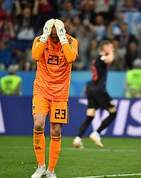 NIZHNY NOVGOROD, June 21, 2018  Argentina's goalkeeper Wilfredo Caballero reacts after Croatia scored a goal during the 2018 FIFA World Cup Group D match between Argentina and Croatia in Nizhny Novgorod, Russia, June 21, 2018. Croatia won 3-0. (Credit Image: © Li Ga/Xinhua via ZUMA Wire)