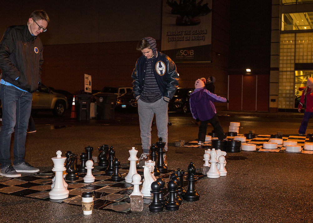 Oversize chess and checkers at First Night Akron 2017 on Dec. 31, 2016