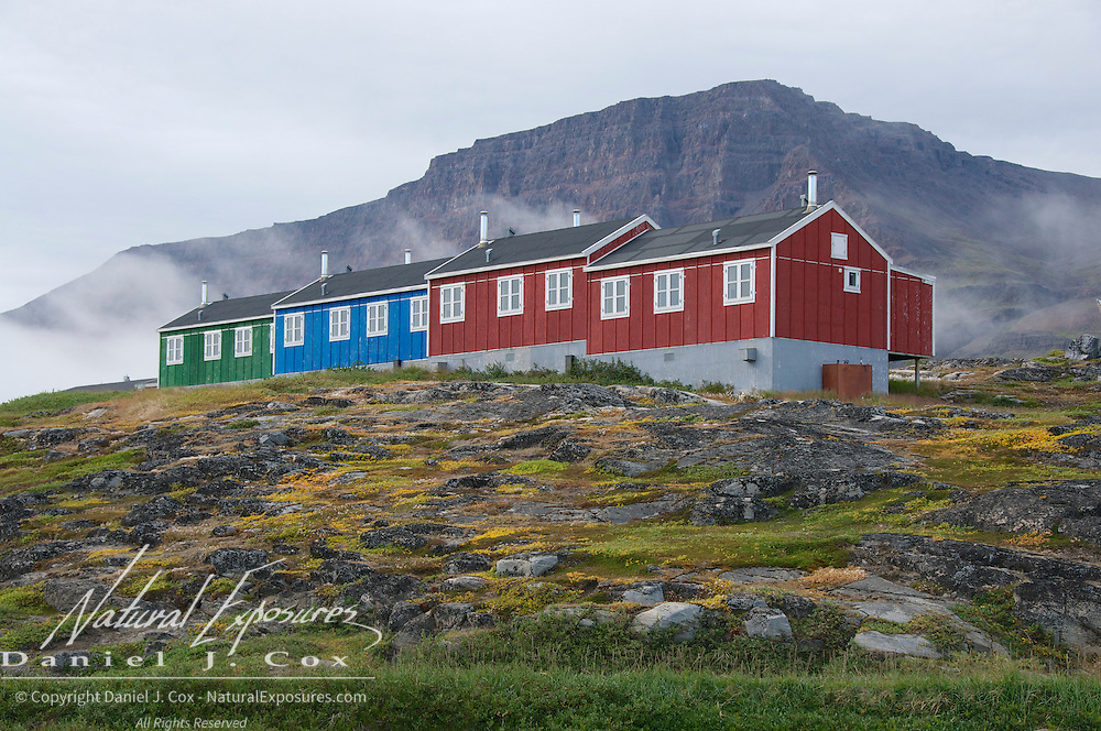 Colorful buildings in Qeqertarsuaq, Greenland.