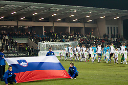 Slovenian flag during friendly football match between National teams of Slovenia and Scotland, on February 29, 2012 in Stadium Bonifika, Koper, Slovenia.  (Photo By Vid Ponikvar / Sportida.com)