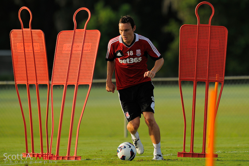 Stoke City Potters midfielder Dean Whitehead (18) during a training session at the Seminole Soccer Complex on July 27, 2012 in Sanford, Florida. ..©2012 Scott A. Miller..