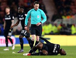 Caleb Ekuban of Leeds United looks in pain - Mandatory by-line: Robbie Stephenson/JMP - 02/03/2018 - FOOTBALL - Riverside Stadium - Middlesbrough, England - Middlesbrough v Leeds United - Sky Bet Championship