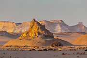 Monoliths (inselbergs) of the white desert at sun set, Egypt