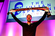 Julian Speroni poses with a scarf to celebrate his testimonial year The gloves are off. An Evening With Julian Speroni at  at Fairfields Hall, Croydon, United Kingdom on 20 January 2015. Photo by Michael Hulf.