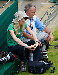 LONDON, ENGLAND - Friday, June 27, 2008: Photographer's Kirsty Wigglesworth (AP) and Tommy Hindley (ProSport) during a 3rd round round match on day five of the Wimbledon Lawn Tennis Championships at the All England Lawn Tennis and Croquet Club. (Photo by David Rawcliffe/Propaganda)