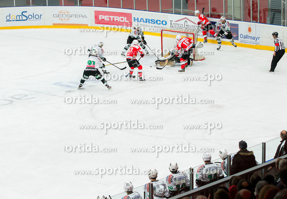 Action during Ice hockey match between HDD SIJ Acroni Jesenice and HDD Telemach Olimpija in Main Round of Slovenian National Championship 2014/15, on October 28, 2014 in Arena Podmezakla, Jesenice, Slovenia. Photo by Vid Ponikvar / Sportida
