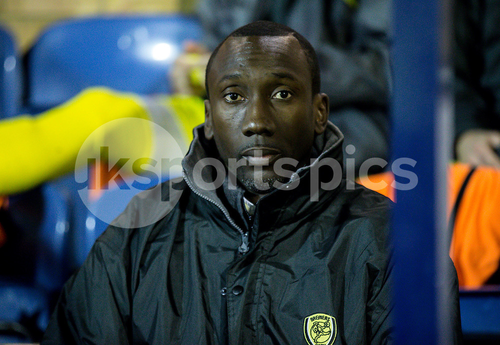 Burton Albion Manager Jimmy Floyd Hasselbaink during the Sky Bet League 2 match between Southend United and Burton Albion at Roots Hall, Southend, England on 19 December 2014. Photo by Liam McAvoy.