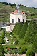 Weingut Schloss Wackerbarth, Garten mit Pavillon Belvedere, Weinberge, Radebeul bei Dresden, Sachsen, Deutschland.|.Castle Wackerbarth, vinery, garden with Belvedere and vineyards in Radebeul near Dresden, Germany