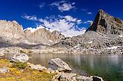 The Palisades above lake in Dusy Basin, Kings Canyon National Park, California USA