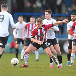 TELFORD COPYRIGHT MIKE SHERIDAN Adam Walker of Telford battles for the ball with Jake Moult of Altrincham during the Vanarama Conference North fixture between AFC Telford United and Altrincham at The New Bucks Head on Saturday, February 1, 2020.<br /> <br /> Picture credit: Mike Sheridan/Ultrapress<br /> <br /> MS201920-044