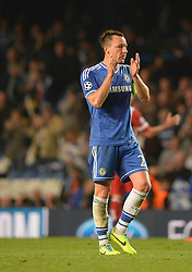 30.04.2014, Stamford Bridge, London, ENG, UEFA CL, FC Chelsea vs Atletico Madrid, Halbfinale, Rueckspiel, im Bild Chelsea's defender John Terry with tears in his eyes acknowledges the Chelsea supporters // Chelsea's defender John Terry with tears in his eyes acknowledges the Chelsea supporters during the UEFA Champions League Round of 4, 2nd Leg Match between Chelsea FC and Club Atletico de Madrid at the Stamford Bridge in London, Great Britain on 2014/05/01. EXPA Pictures © 2014, PhotoCredit: EXPA/ Mitchell Gunn<br /> <br /> *****ATTENTION - OUT of GBR*****