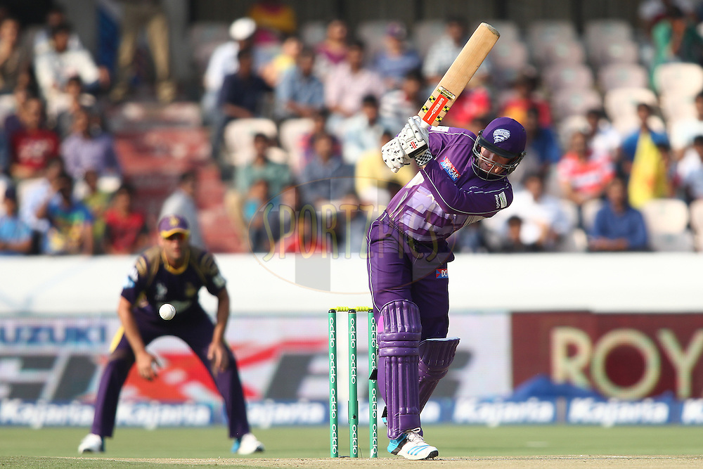 Ben Dunk of the Hobart Hurricanes plays a delivery through the leg side during the first semi final match of the Oppo Champions League Twenty20 between the Kolkata Knight Riders and the Hobart Hurricanes held at the Rajiv Gandhi Cricket Stadium, Hyderabad, India on the 2nd October 2014<br /> <br /> Photo by:  Shaun Roy / Sportzpics/ CLT20<br /> <br /> <br /> Image use is subject to the terms and conditions as laid out by the BCCI/ CLT20.  The terms and conditions can be downloaded here:<br /> <br /> http://sportzpics.photoshelter.com/gallery/CLT20-Image-Terms-and-Conditions-2014/G0000IfNJn535VPU/C0000QhhKadWcjYs