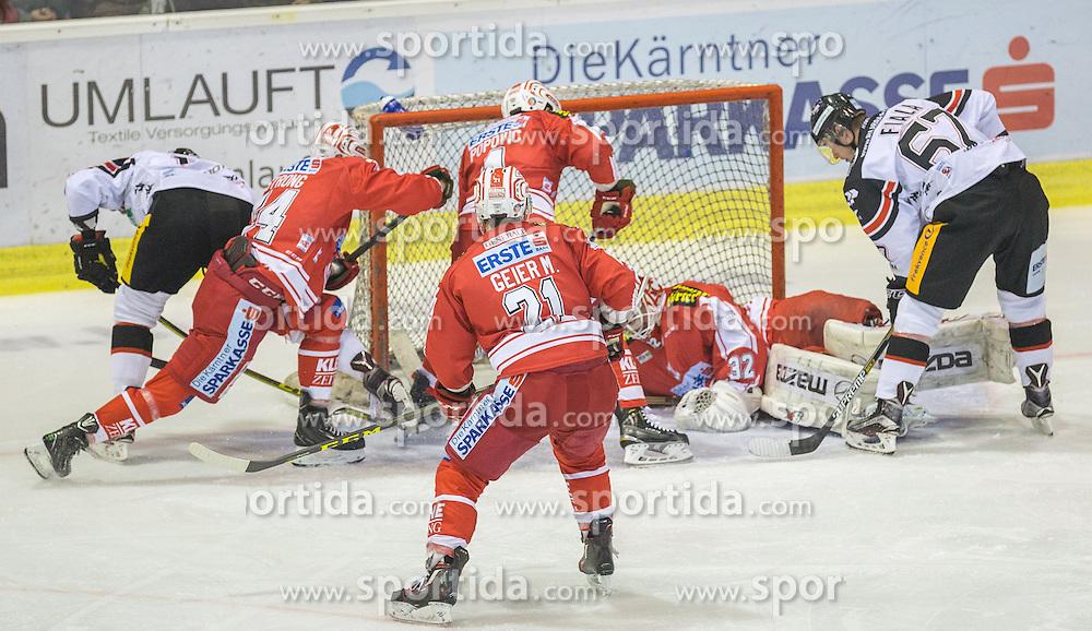 16.10.2015, Stadthalle, Klagenfurt, AUT, EBEL, EC KAC vs HC Orli Znojmo, im Bild (HC Orli Znojmo #66), Manuel Geier (EC KAC, #21), Mark Popovic (EC KAC, #4), Ondrej Fiala (HC Orli Znojmo #67), Patrik Nechvatol (HC Orli Znojmo #7)// during the Erste Bank Eishockey League match betweeen EC KAC and HC Orli Znojmo at the City Hall in Klagenfurt, Austria on 2015/10/16. EXPA Pictures © 2015, PhotoCredit: EXPA/ Gert Steinthaler