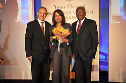 Left to right, GRAHAM BOYES, RUBY McGREGOR-SMITH and SIR TREVOR MACDONALD at the presentation of the Veuve Clicquot Business Woman Award 2009 hosted by Graham Boyes MD Moet Hennessy UK and presented by Sir Trevor Macdonald at The Saatchi Gallery, Duke of York's Square, Kings Road, London SW1 on 28th April 2009.