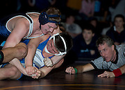 Nelson Pepin of Dirigo competes in the championship match for the 182-pound weight class at the Western Maine Regional Wrestling Championships at Bucksport High School on February 2, 2013.